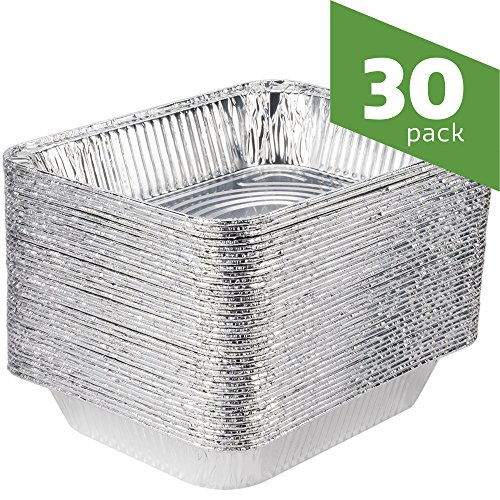 Aluminum Foil Steam Table Pans, Half Size Deep, 9x13 Pans (30 Pack)