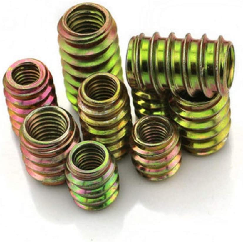 Nut 100pcs M6 OD20 Furniture Pass-Through Drive Unhead Threaded Nut Color Zinc Plated Carbon Steel Wood Insert Nuts