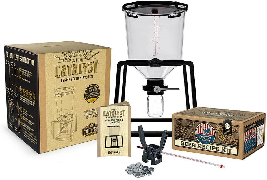 Craft A Brew Premium Homebrew Starter Home Brewing – 6.5 Gallon Conical Fermenter – 5 Gallon American Pale Ale Recipe Capping Kit (American Pale Ale)