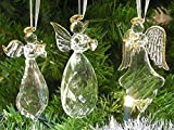 Crystal Faith Hope Love Angel Ornaments with Gold Accents - Set of 3 - Christmas Ornament - Holiday Decorations Christmas Tree Ornaments Xmas Angel Wings - Gift