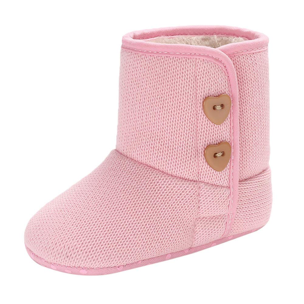 GBSELL Newborn Baby Girls Winter Warm Shoes Heart Buttons Lovely Knitting Snow Boots (Pink, 12~18 M)