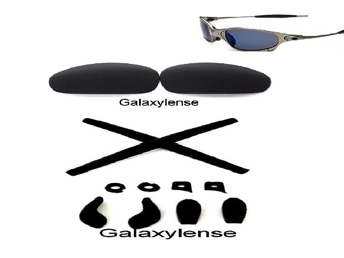 6214b7e8ed Amazon.com  Galaxy Replacement Lenses + Rubber Kits For Oakley Juliet  Sunglasses Black  Clothing