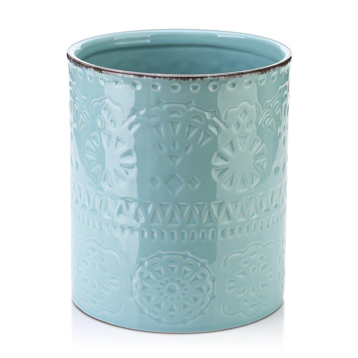 DOWAN Utensil Holder, Ceramic Kitchen Utensil Holder with Cork Mat, Embossed Utensils Holder, Blue