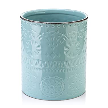 Lifver Fine Embossed Ceramic Crock Utensil Holder, 7.2  x 6.2 , Blue