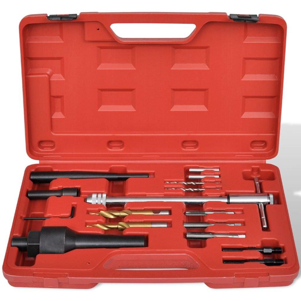 vidaXL Kit Extracteur Bougie de Pr/échauffage et R/éparation de Filetage 16 pcs