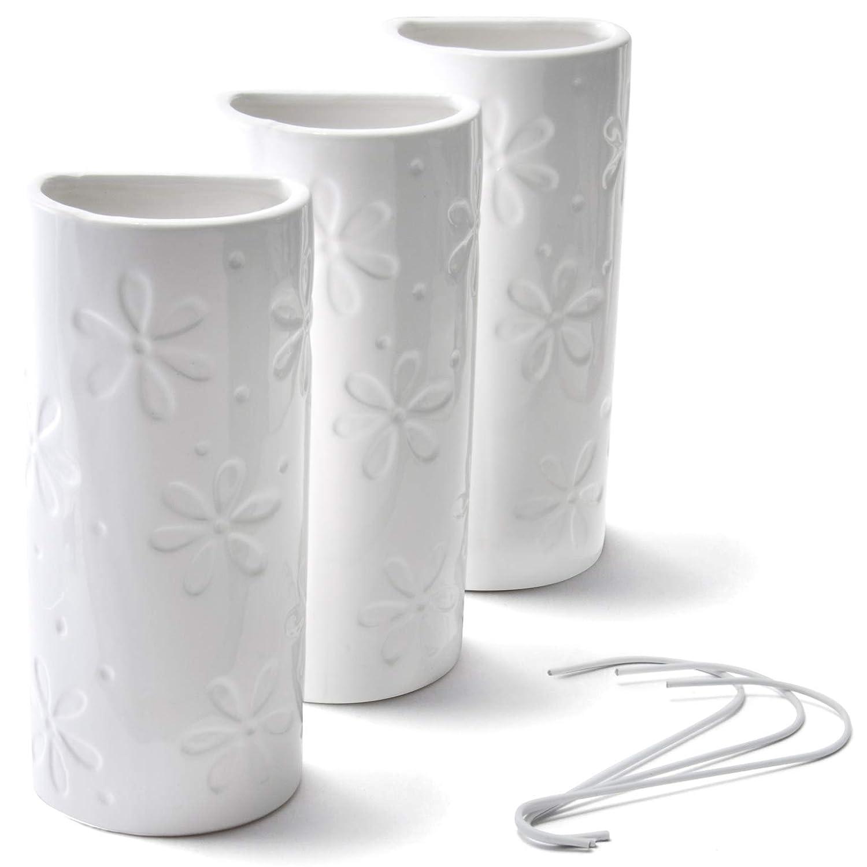 Lot de 3 humidificateurs en c/éramique pour radiateur Motif fleurs