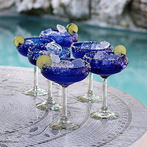 NOVICA Artisan Crafted Hand Blown Cobalt Blue Recycled Glass Margarita Glasses, 11 oz, Deep Blue' (set of 6) by NOVICA (Image #2)
