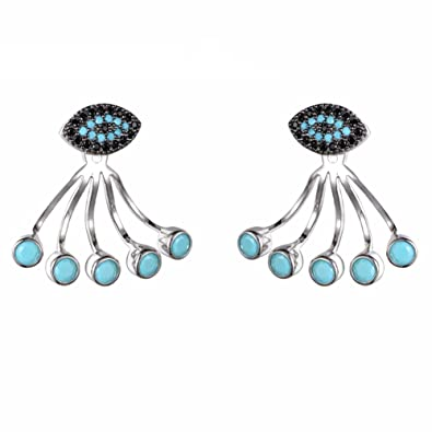 Evil Eye Bead /& CZ Stud /& Dangle Attachment Drop Earrings in 925 Sterling Silver