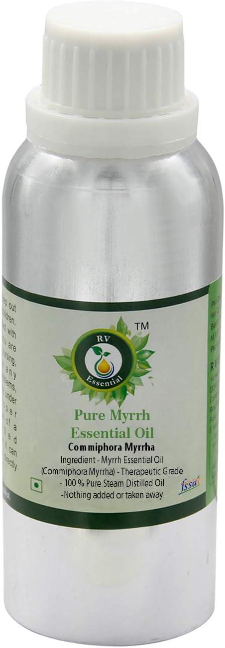 Aceite esencial de mirra   Commiphora myrrha   Aceite mirra   Para pelo   Para piel   100% natural puro   Vapor destiló   Grado Terapéutico   Myrrh Essential Oil  1250ml   42oz By R V Essential