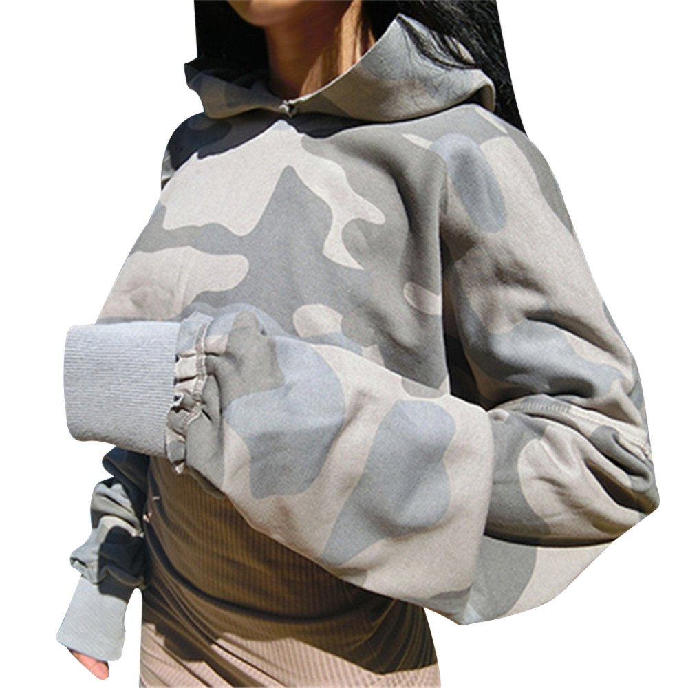rocicaS Clearance Women's Long Sleeve Fashion Camouflage Crop Tops Hooded Sweatshirt Casual Jumper Pullover Blouses Top S-XL