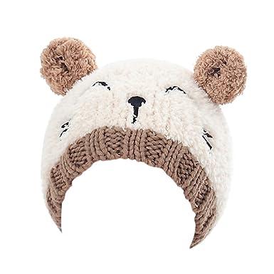 LUOEM Bonnet Bébé Bonnet Ours avec Oreilles de Chat Mignon Chapeau Bonnet  en Laine Tricot Crochet 993da5e1294