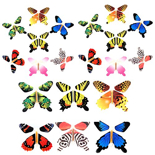 Gmai Flying Butterfly - Classic Wind Up Swallowtail Butterfly - Close Up Magic Set of,Fun Toy or Romatic Wedding (20pcs)