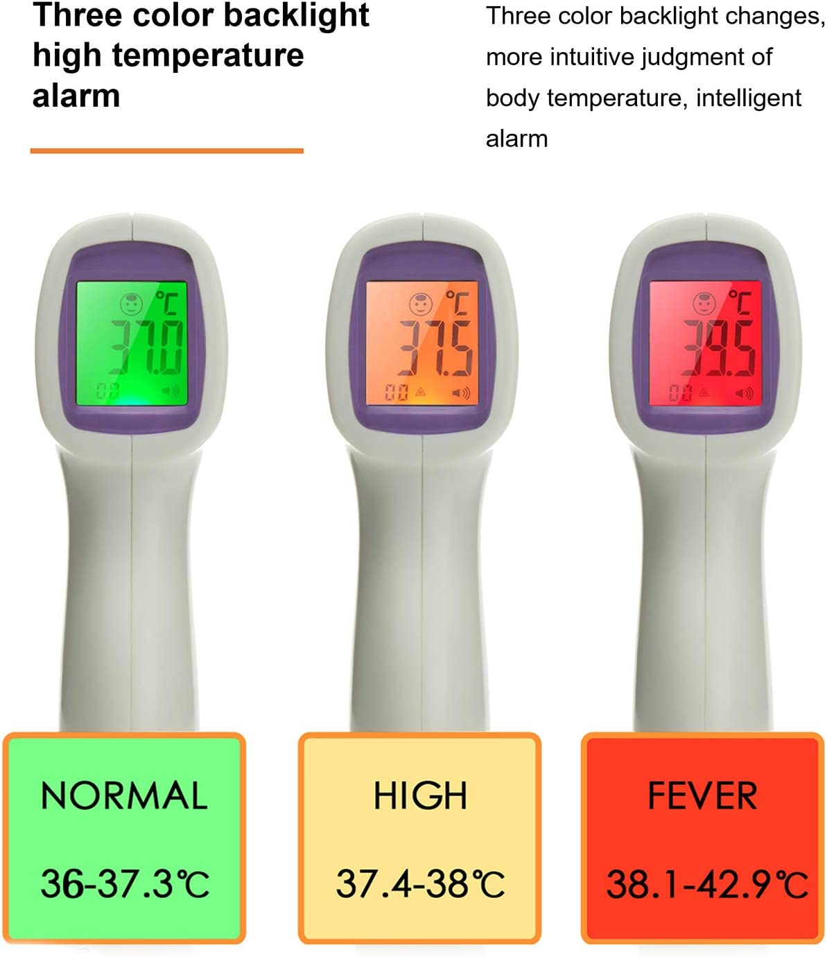 Forehead Digital Thermometer Precise Temperature Measurement with LCD Display for Children and Adults