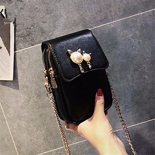 GAOQIANGFENG donna cachi borsa Black catena mini sacchetto qqwROF0p