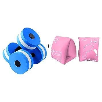 HNJZX Mancuernas hinchables de espuma EVA para ejercicios de agua, equipo de piscina, 2 unidades + brazaletes flotantes para piscina, 2 unidades, ...