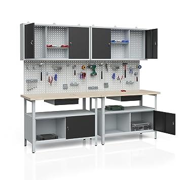 2er Set Lochwand Werkstatteinrichtung Werkbank Werkzeugschrank