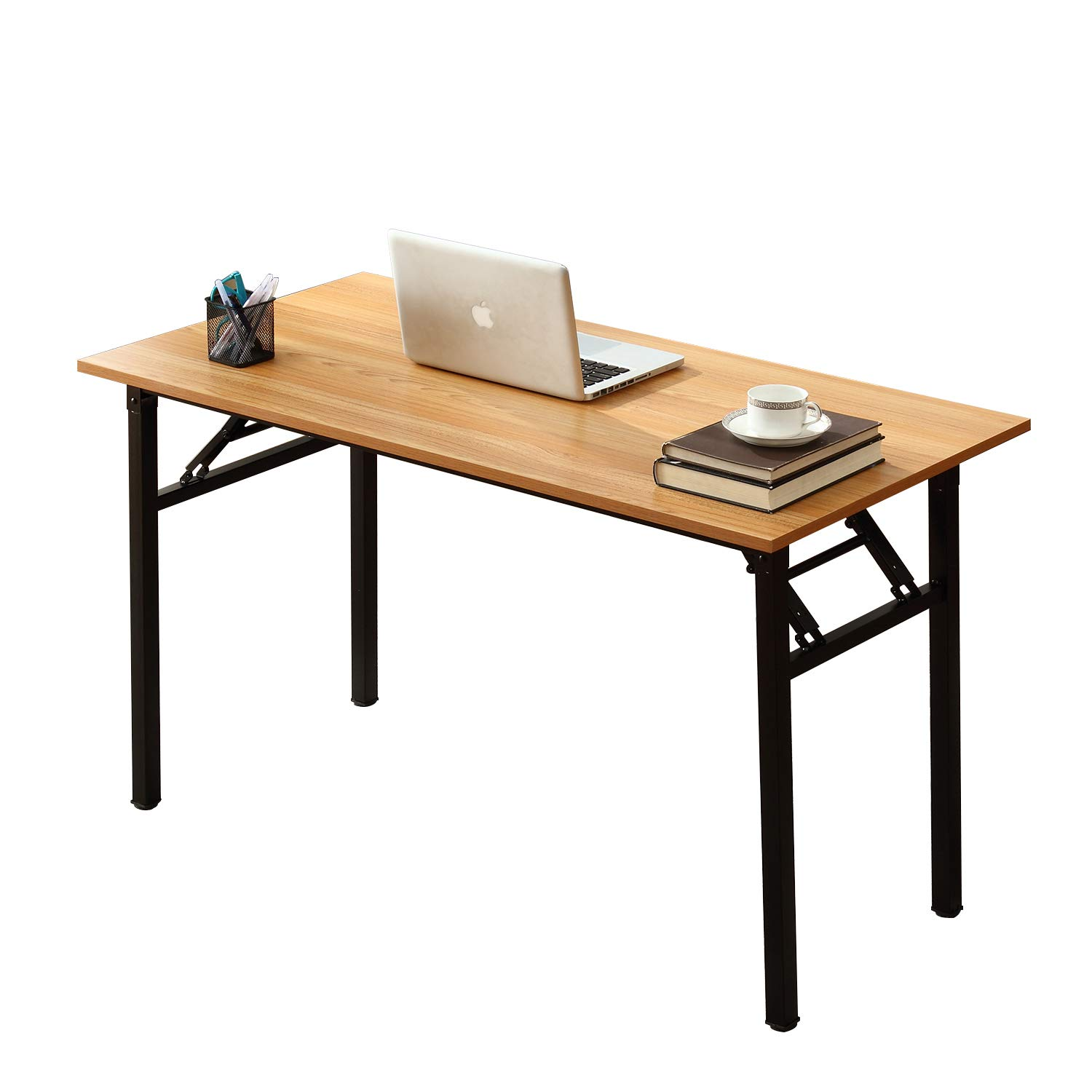 Need Computer Desk Office Desk 55 inches Folding Table Computer Table Workstation No Install Needed,Teak Black AC5BB-140X by Need