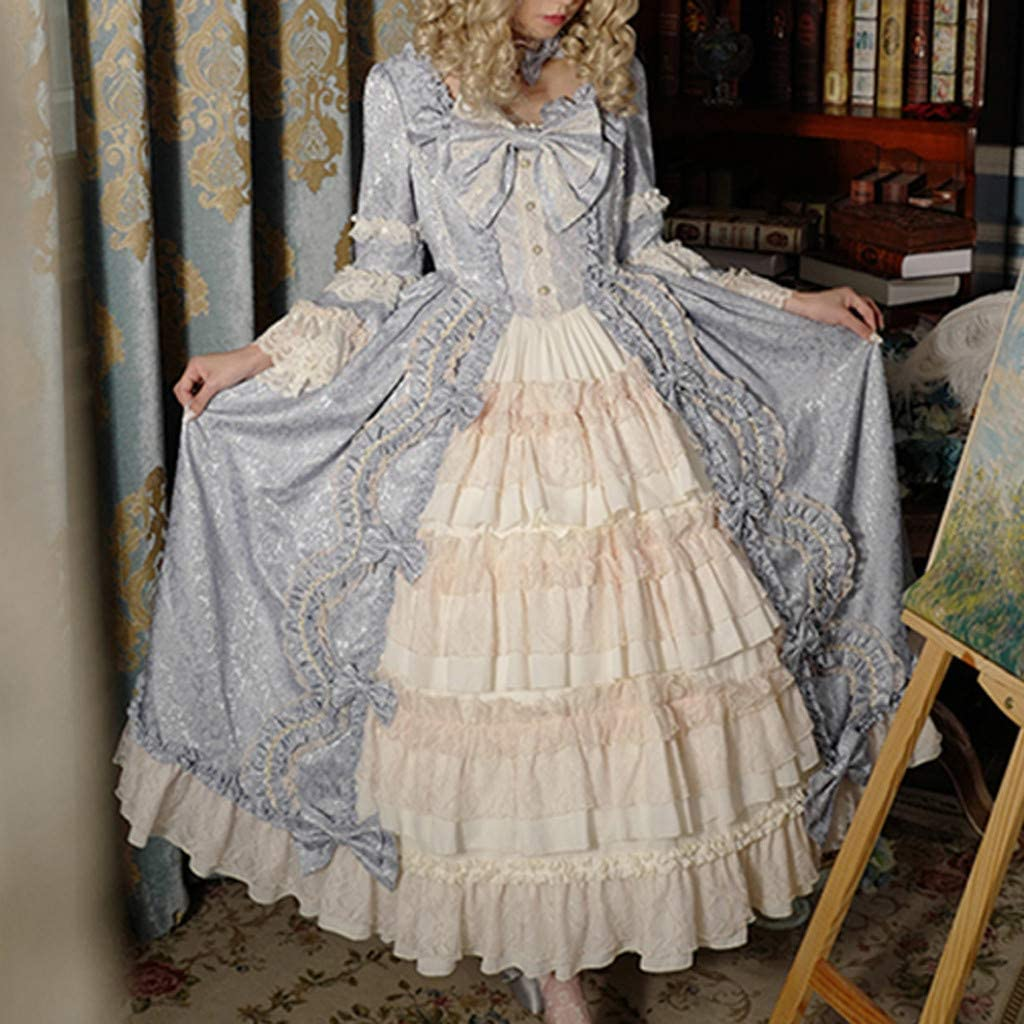 LATINDAY ◆ Womens Gothic Dress Lace Bowknot Princess Lolita Cosplay Costumes for Girls Retro Court Prom Puff Skirts