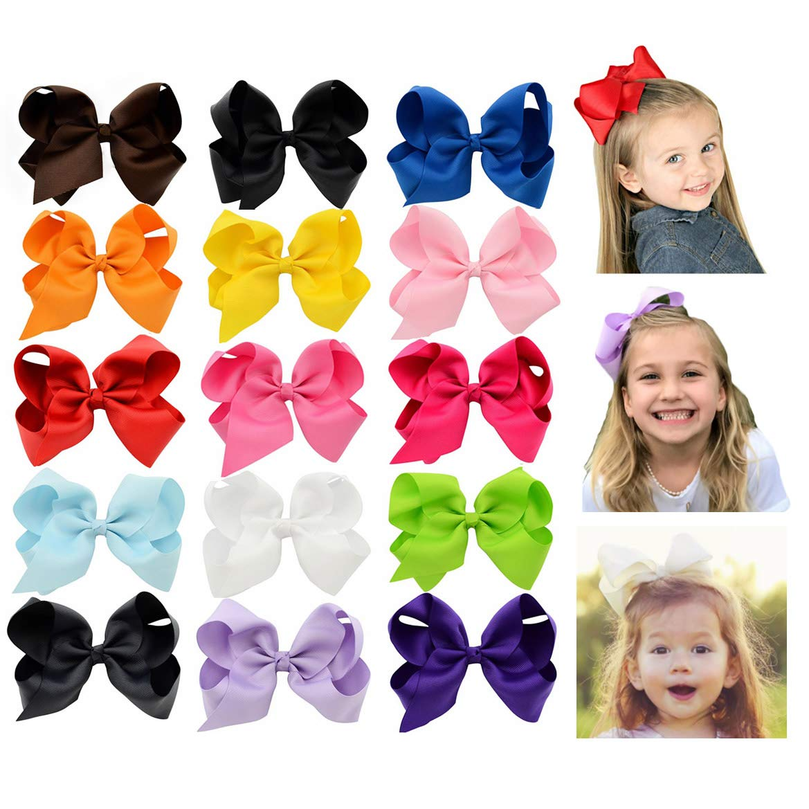 6 Inch Large Baby Hair Bows Barrettes Clip Holders Accessories For Toddler Girls 15 pcs by YHXX YLEN (Image #1)