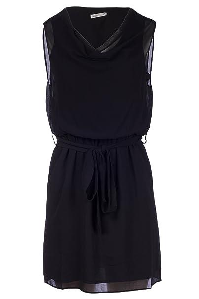 LAVAND - Vestido Negro Corto con Escote drapeado y Detalle Cremalleras en los Hombros: Amazon.es: Ropa y accesorios