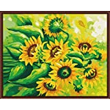 Adult Paint by Number Kits, DIY Arts and Crafts with Brushes on Canvas, Great Gift & Home Decor Hand Drawn Sunflower 19.7x15.7in 1 Pack by Toyvip