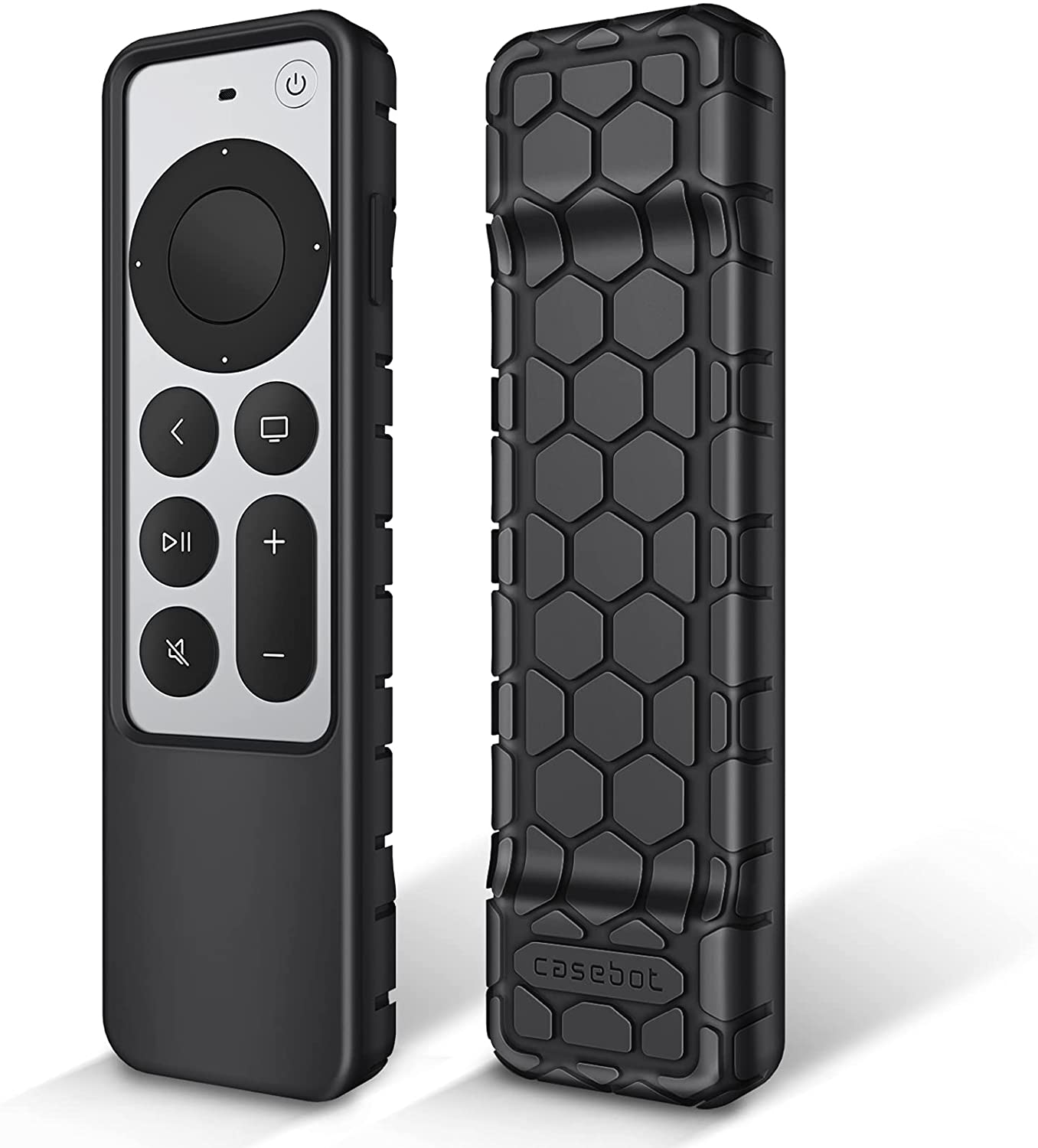 Fintie Protective Case for Apple TV Siri Remote 2021 - Honey Comb Lightweight Anti Slip Shockproof Silicone Cover for Apple TV 4K / HD Siri Remote Controller (2nd Generation), Black