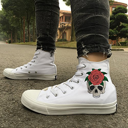 Print Men D Shoes up Plus Women Honeystore Unisex High Canvas Halloween Sneakers Skull Flats Top Lace White and Size for 7zwxnZFz