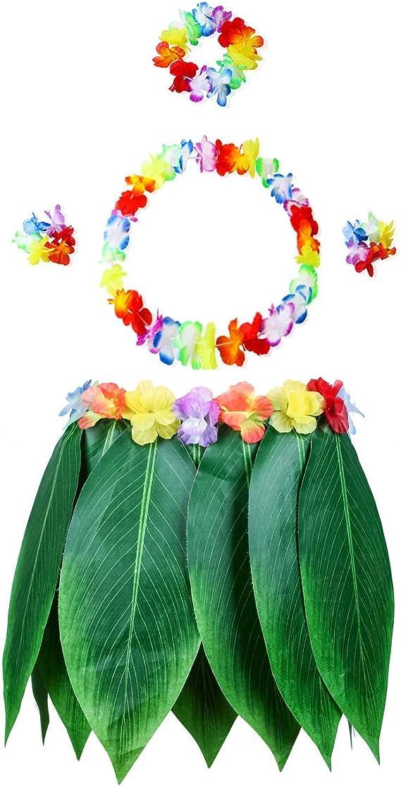 Reyoust Falda de Hula de Hojas Hawaianas para Hombre, Falda de ...