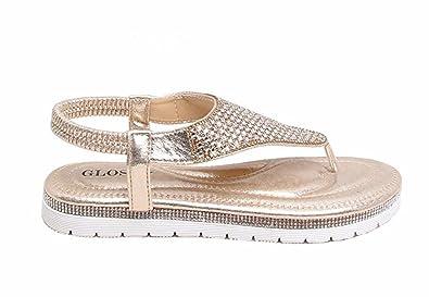 Shelikes new womens diamante sparkly summer open toe slippers flat new shelikes womens diamante sparkly summer open toe slippers flat wedding sandals uk 3 junglespirit Choice Image
