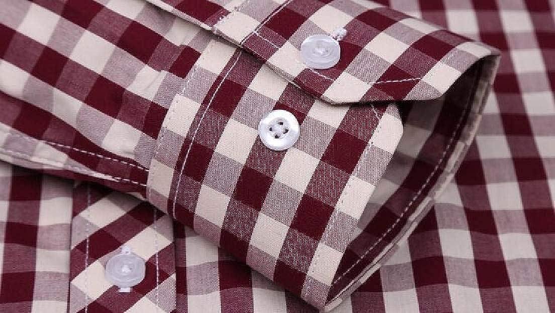 Abeaicoc Mens Plaid Casual Cotton Long Sleeve Button Front Shirt