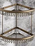 2016 MEIREN new arrival elegant design style functional Antique Elegant Double Shelves Brass Material Bathroom Shelf