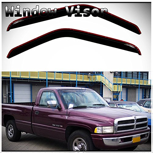 D&O MOTOR 2pcs in-Channel Front Doors Smoke Sun/Rain Guard Tape-On Window Visors for Dodge Ram 94-01 1500 94-02 2500/3500 Pickup with Standard Mirror