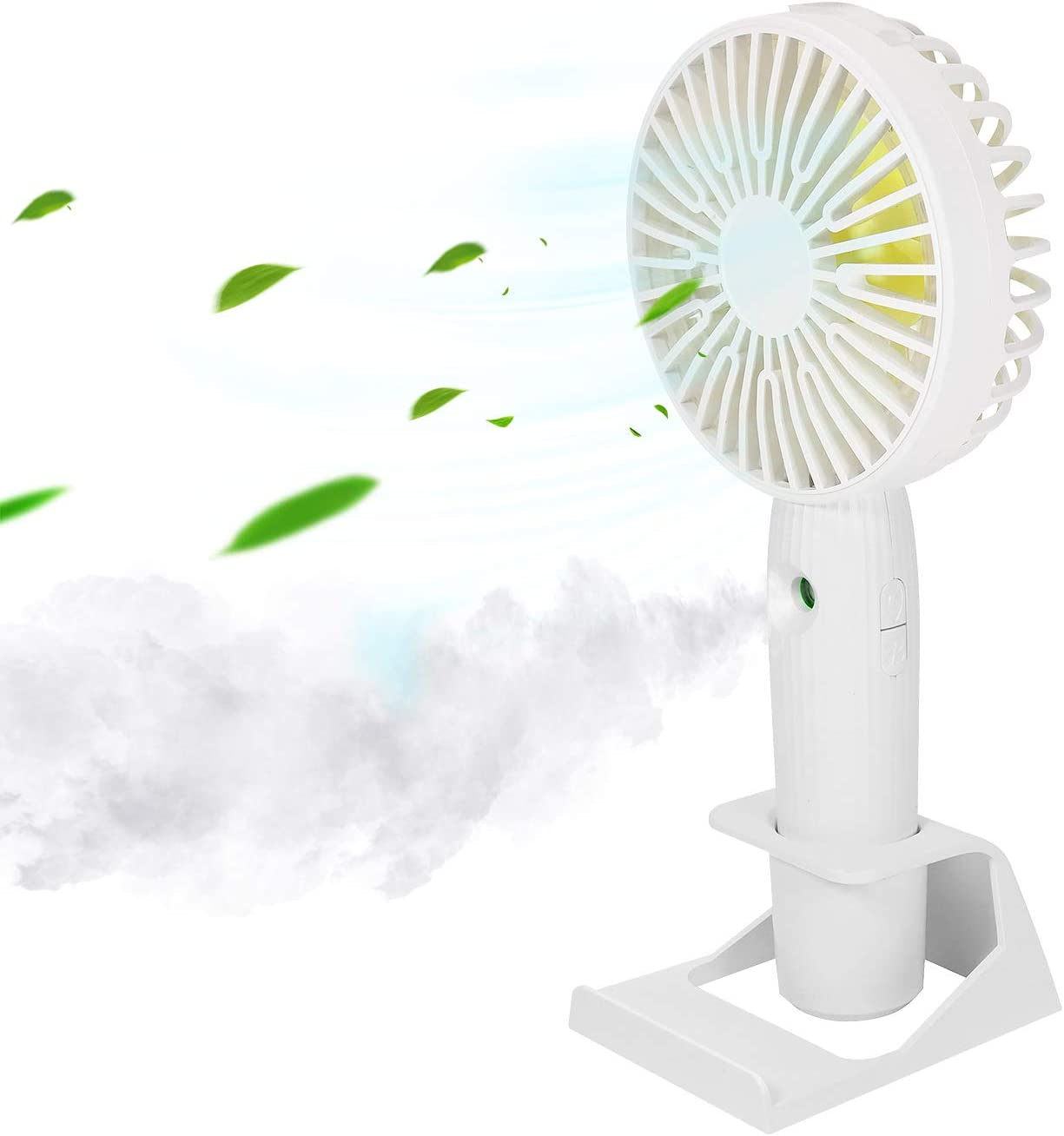 Misting Personal Fan, DeepDream Mini Handheld Fan, Small Portable Spray Fan Speed Adjustable, USB Desk Colorful Nightlight Fan for Kids Girls Woman Man Home Office Outdoor Travel (White)