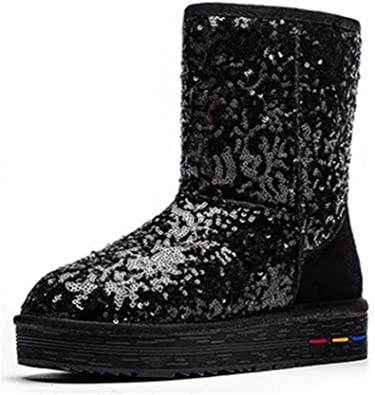 Sequined Cloth Round Toe Mid-Calf Boot