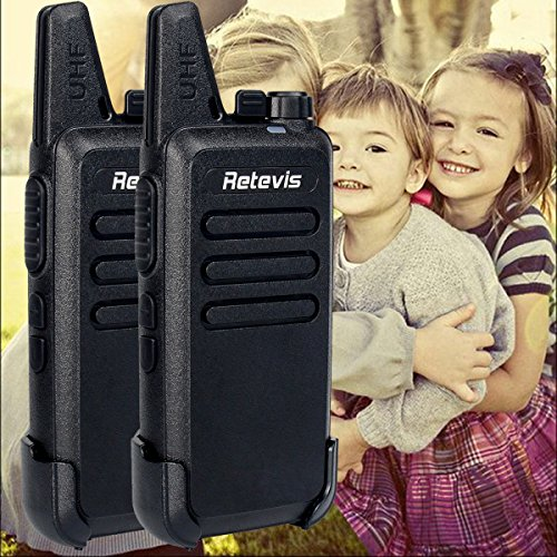 Retevis RT22 Mini Walkie Talkies Two Way Radio Portable Ultrathin  Ultralight 16 Channels UHF VOX Scan USB Charger (Black, 5 Pairs)