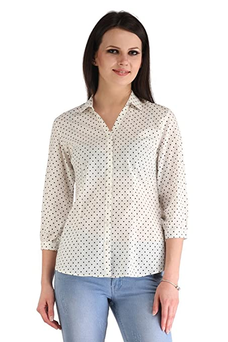 ZAIRE Women's Fashionable Polka Dotted 3/4 Sleeves Cotton Top  2269 3/4TH,White,M  Tops