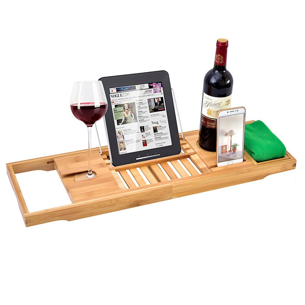Julvie Extendable Bamboo Bathtub Tray, Bath Spa Shelf, Bath Caddy Soap iPad Cellphone Wine Books Holder Rack, Overflow Bathtub Set