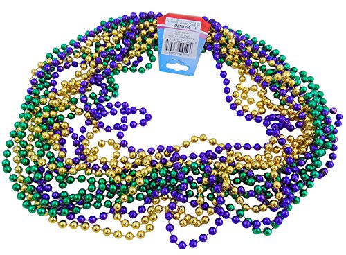 Gold Beads Necklace Costume Jewelry - 12 ~ Mardi Gras Beaded Necklaces ~ Approx. 33