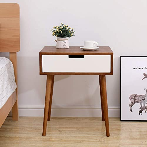 DEPOINTER Life End Table with Storage Drawer, Modern Designed Nightstand Wood Accent Side Table, Home Furniture Perfect for Living Room Bedroom Office, Brown