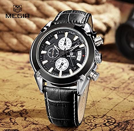 Amazon.com: Relojes de Hombre Mens Quartz Watches Genuine Leather Calendar Waterproof Male Watch RE0045: Watches