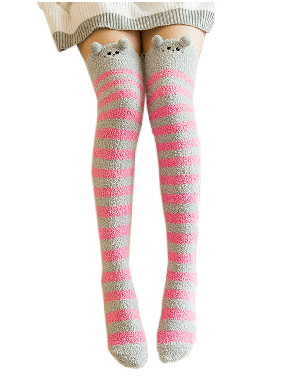 Girl's Leg Warmers Soft Warm Animal Coral Fleece Thigh High Long Striped Socks, Best Christmas Gift (Gray Cat)