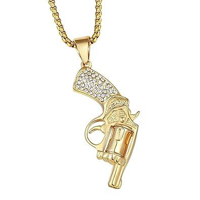 Mcsays Hip Hop Bijoux Revolver Cool Pendentif chaîne de 60 cm de boîte  ronde en acier af95fafc721b