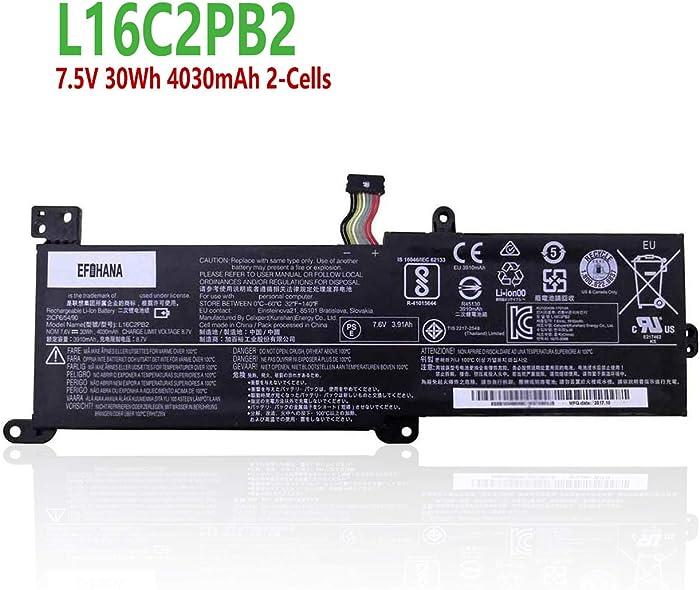 efohana L16C2PB2 Laptop Battery Replacement for Lenovo IdeaPad 320 330 B320-14IKB V320-17IKB V320-17ISK Series Notebook L16C2PB1 L16L2PB2 L16L2PB1 L16L2PB3 L16S2PB1 L16M2PB1 7.5V 30Wh 4030mAh