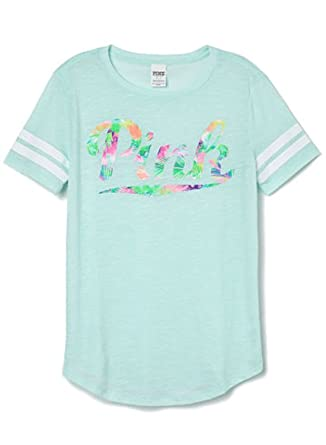 79d39851fb089 Amazon.com: Victoria's Secret PINK Athletic Tee shirt, Mint ...