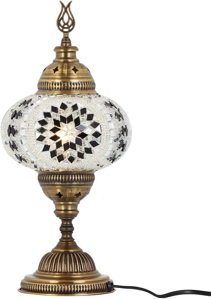DEMMEX 2019 Turkish Moroccan Mosaic Table Lamp with US Plug & Socket, Handmade Desk Bedside Table Night Lamp, Decorative Tiffany Lamp Light, Black White