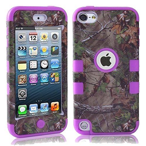 Kecko(TM) Defender Tough Armor Tree Camo Shockproof Dual Layer High Impact Camouflage Hunting Tree Forest Hybrid Hard Suitable Fit Case For ipod Touch 5 5th --Forest/Tree/Leaves On The Core (Purple)
