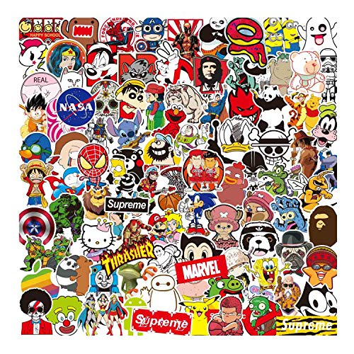 Sanmatic Sticker Pack 100 Pcs, Original Cartoon Character Sticker Pack for Party Supplie,Imagination Creating,Teaching,Bicycle Waterbottle Laptop Trunk Skateboard Personal Object Patches Stickers -