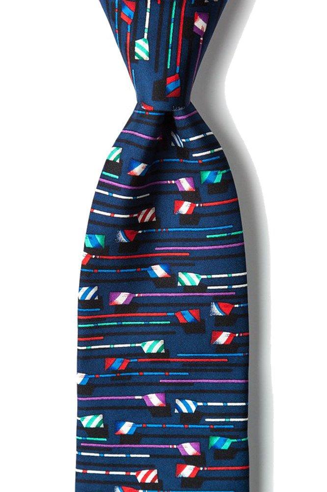 Mens 100% Silk Blue Boat Oars Paddles Rowing Necktie Tie Neckwear