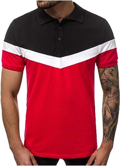 HEETEY - Camiseta de Verano para Hombre, diseño de Patchwork, Manga Corta, Cuello Redondo, Vintage, Manga Corta: Amazon.es: Ropa y accesorios