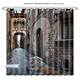 Minicoso ShowerCurtain barri gothic quarter and bridge of sighs in barcelona catalonia spain Polyester Fabric Bathroom Shower Curtain